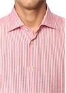 Kırmızı Beyaz Çizgili İngiliz Yaka Gömlek