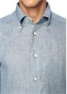 Mavi Düğmeli Yaka Keten Gömlek
