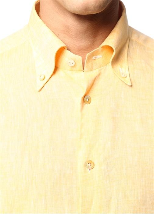 Turuncu Düğmeli Yaka Keten Gömlek