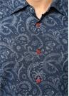 Lacivert Etnik Desenli İngiliz Yaka Gömlek
