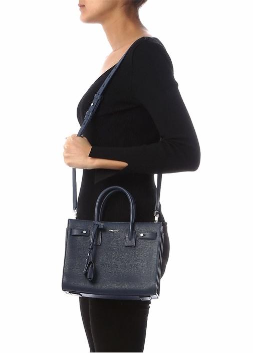 Baby Lacivert Dokulu Kadın Deri Çanta