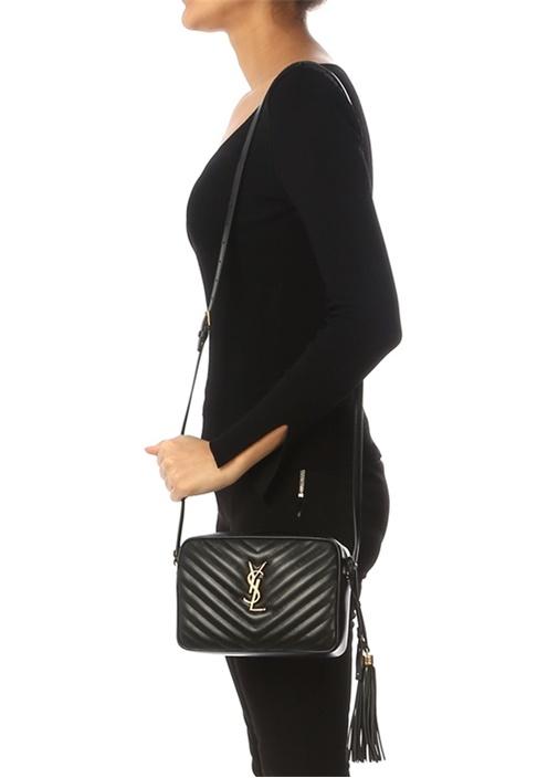 Lou Siyah Kapitoneli Kadın Deri Çanta