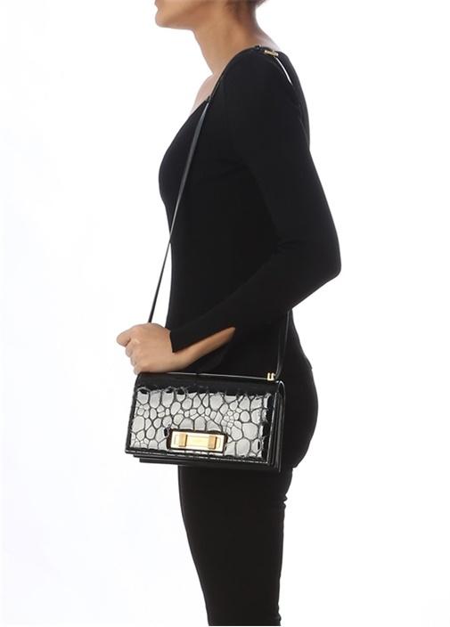 Domino Medium Siyah Yılan Desenli KadınDeri Çanta