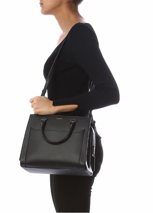Side Medium Siyah Kadın Deri Çanta