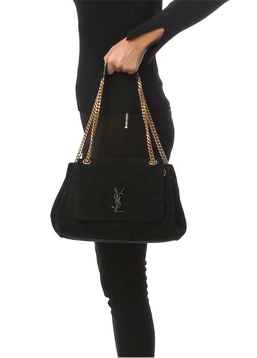 Nolita Medium Siyah Logolu Kadın Süet Omuz Çantası
