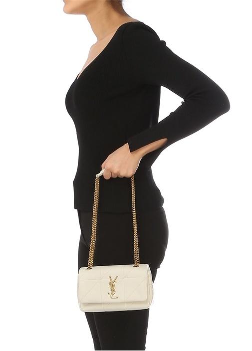 Jamie Bej Logolu Dikiş Detaylı Kadın Deri Çanta