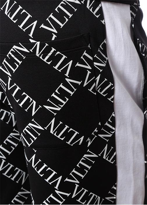 Siyah Beyaz Mikro Logo Baskılı Bermuda