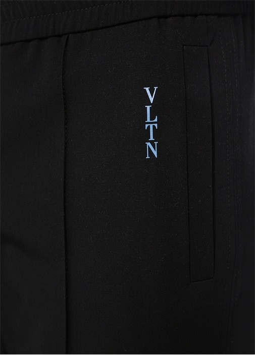 Siyah Logolu Baskılı Yün Pantolon