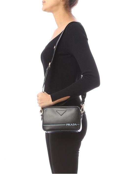 Siyah Mavi Logolu Kadın Deri Çanta