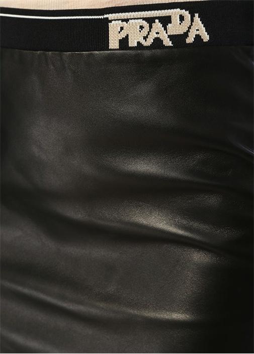 Siyah Beli Logo Şeritli Mini Deri Etek