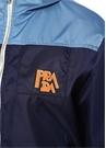 Mavi Kapüşonlu Logolu Cep Detaylı Fermuarlı Mont