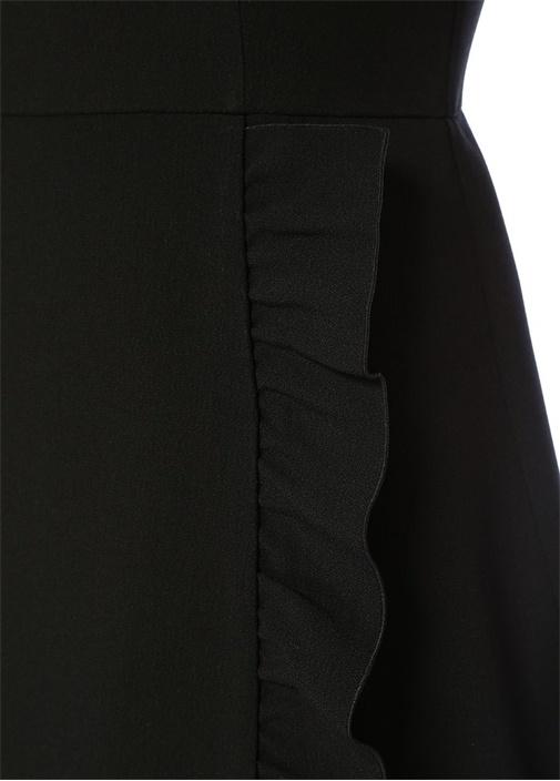 Siyah Volan Detaylı Yarım Kol Midi KrepElbise