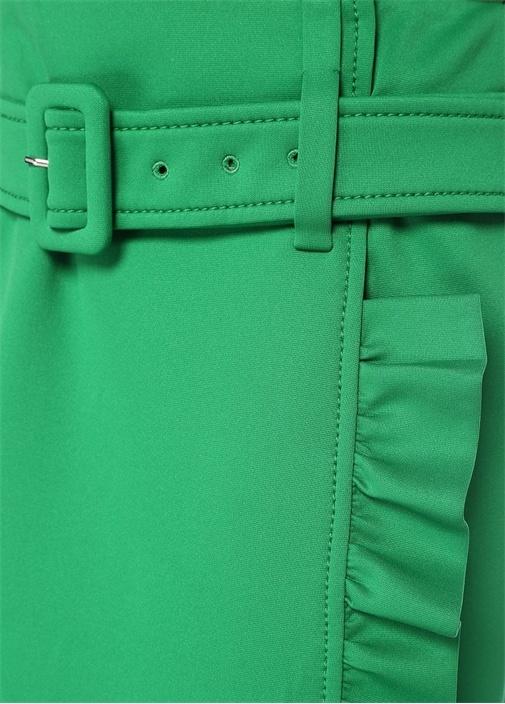 Yeşil Kemerli Fırfır Detaylı Mini Anvelop Etek