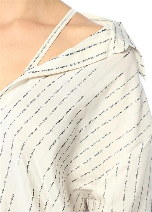Ponge Beyaz Logo Şeritli Omuz Askılı İpek Gömlek