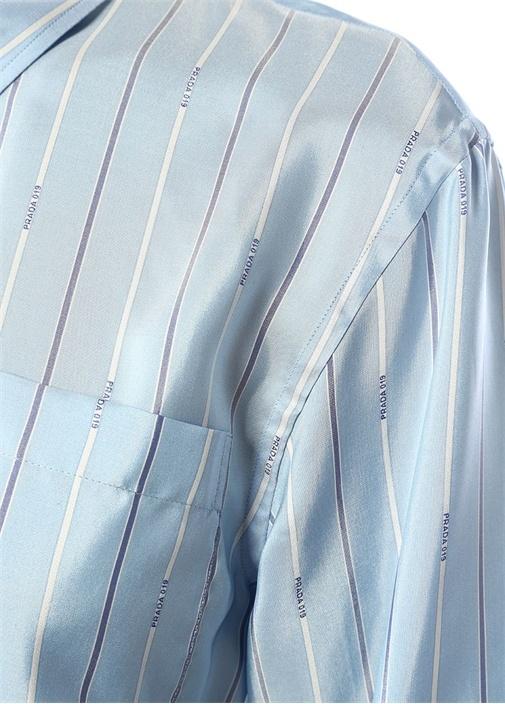 Mavi Logolu Çizgi Desenli Cepli İpek Gömlek