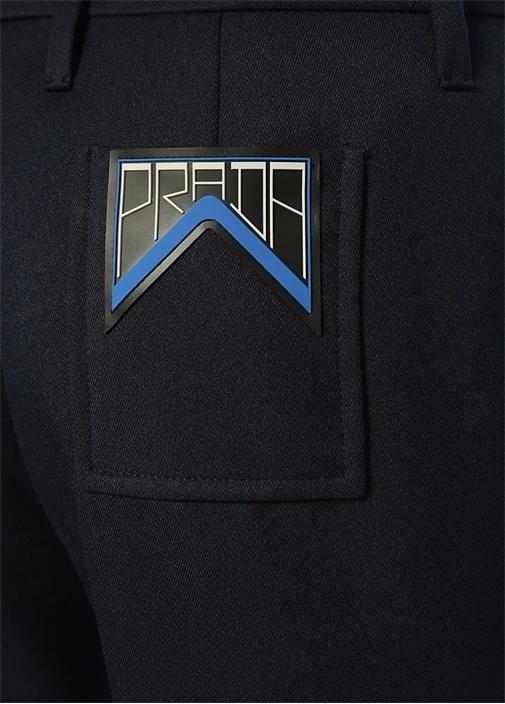 Lacivert Arka Cebi Logo Detaylı Boru Paça Pantolon