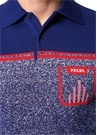 Lacivert Polo Yaka Logo Jakarlı Kısa Kollu Triko