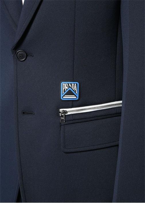 Lacivert Logolu Fermuar Detaylı KelebekYaka Ceket