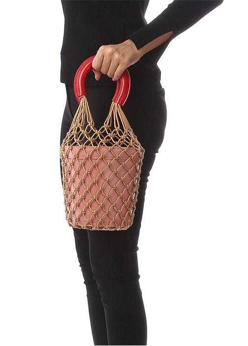 Moreau Pembe File Detaylı Kadın Deri Çanta