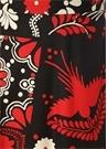 Siyah Kırmızı Yüksek Bel Çiçekli Midi Etek