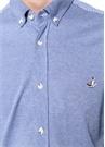 Slim Fit Mavi Logolu Mikro Desenli Gömlek
