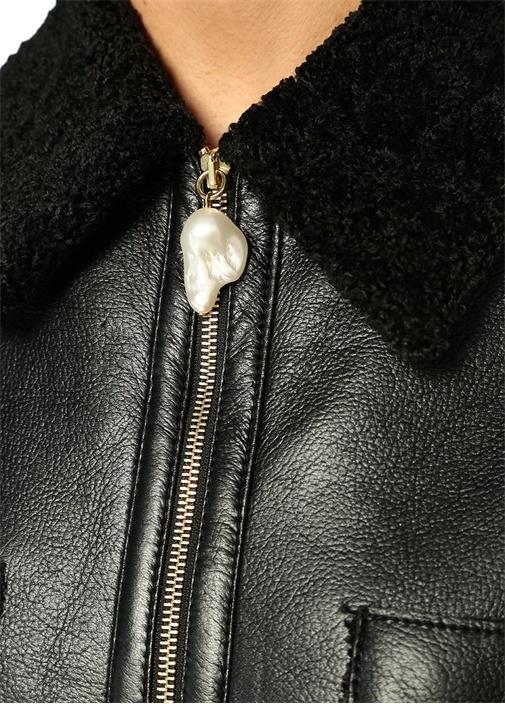 Tara Siyah Shearling Detaylı Suni Deri Ceket