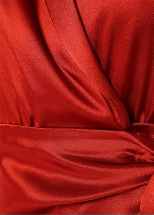 Ezra Kırmızı Şal Yaka Midi Saten Anvelop Elbise
