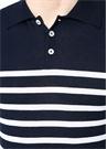 Platinum Lacivert Beyaz Çizgili Polo Yaka T-shirt