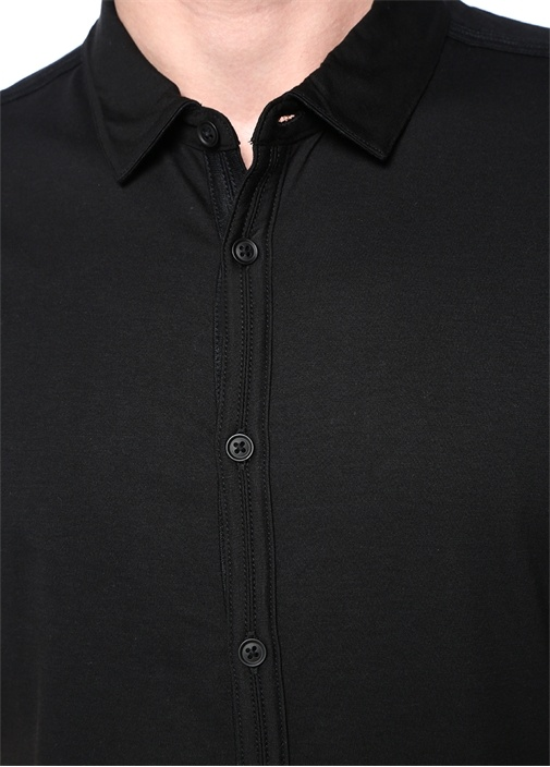 Siyah Polo Yaka Dekoratif Dikişli T-shirt