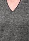 Antrasit V Yaka Basic Keten T-shirt