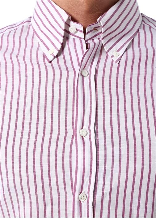 Slim Fit Mor Beyaz Çizgili Keten Gömlek