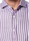 Slim Fit Mor Beyaz Çizgili İngiliz YakaGömlek