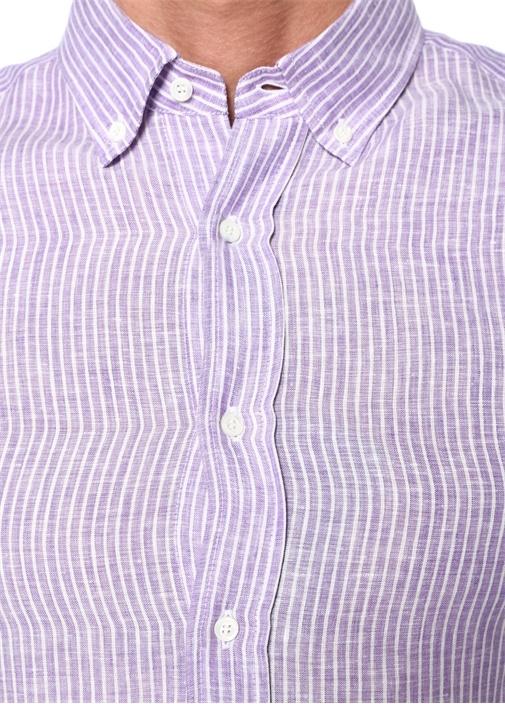 Leisure Fit Mor Beyaz Çizgili Keten Gömlek