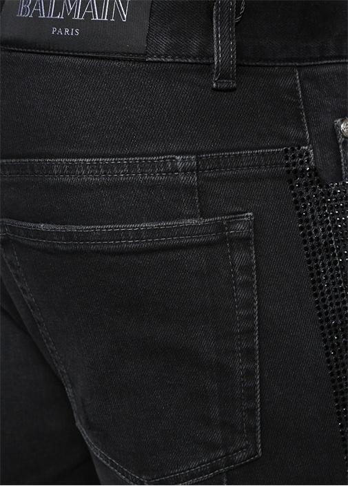 Slim Fit Antrasit Taş Baskı Detaylı Jean Pantolon