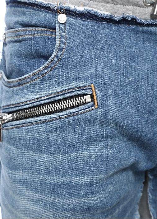 Gri Mavi Normal Bel Denim Garnili Pantolon
