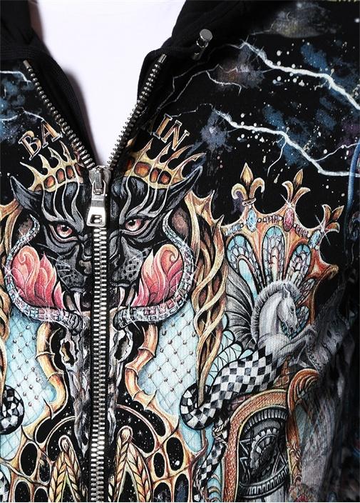 Siyah Kapüşonlu Desenli Fermuar DetaylıSweatshirt