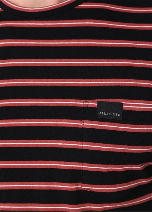 Siyah Pembe Çizgili Bisiklet Yaka T-shirt