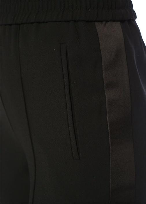 Essi Siyah Yüksek Bel Yanı Şeritli Pantolon