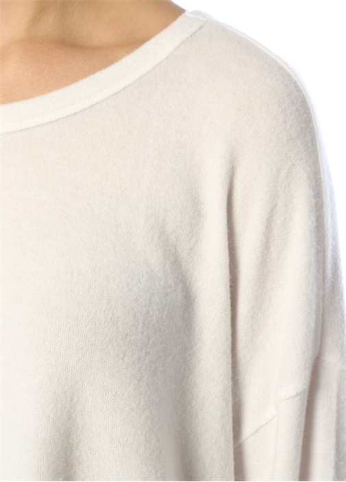 Vetington Beyaz Oversize Uzun Kol T-shirt