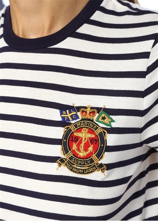Lacivert Beyaz Çizgili Logo Patchli T-shirt