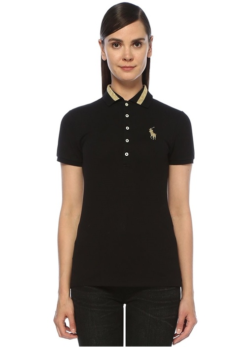 Slim Fit Siyah Gold Polo Yaka Şeritli T-shirt
