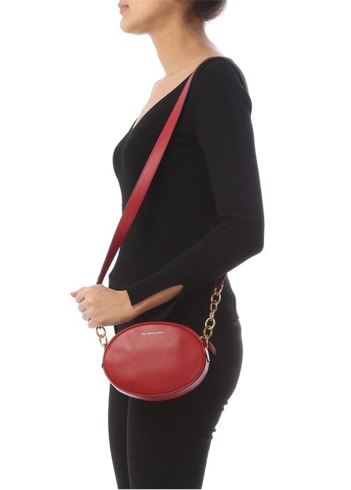 Gilly Kırmızı Oval Formlu Kadın Deri Çanta