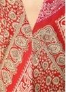 Kırmızı Halter Yaka Şal Desenli Midi Elbise