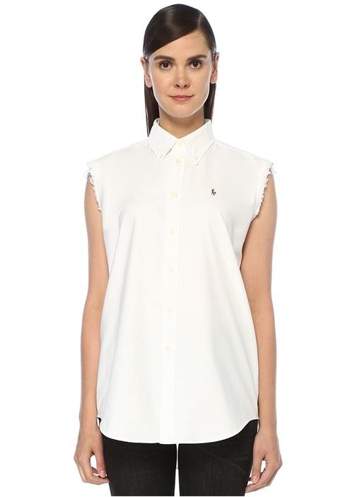 Beyaz Düğmeli Yaka Püsküllü Kolsuz Oxford Gömlek