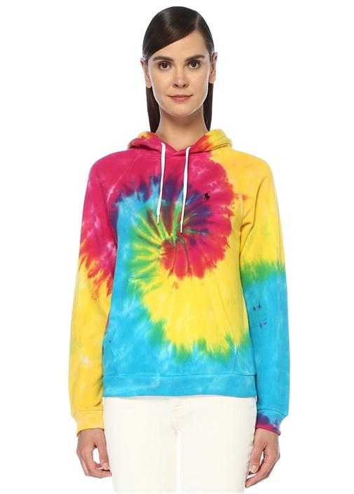 Shrunken Fit Kapüşonlu Batik Desenli Sweatshirt