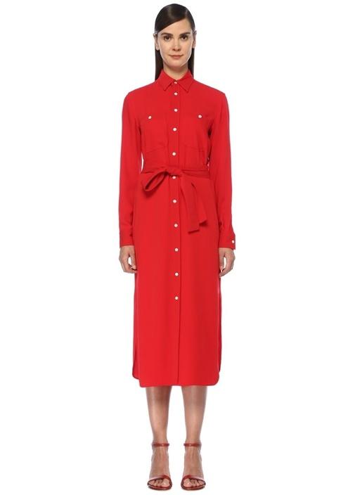 Straight Fit Kırmızı Midi Krep Gömlek Elbise