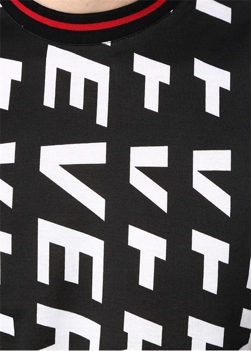 Siyah Bisiklet Yaka Logo Baskılı T-shirt
