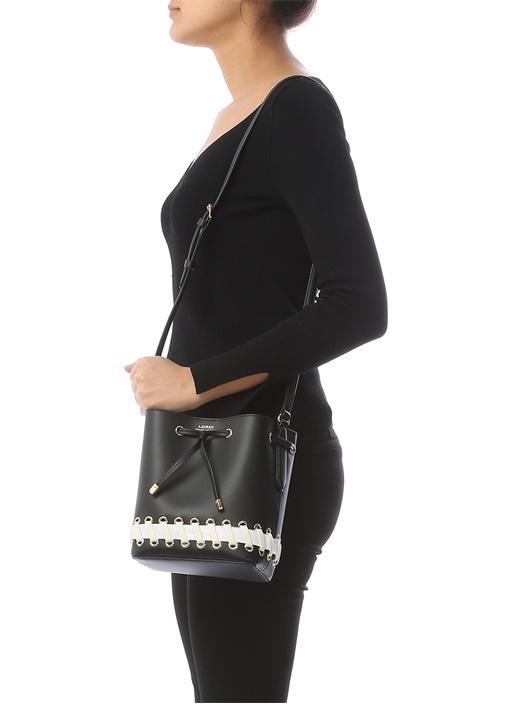 Dryden Siyah Kuş Gözü Detaylı Kadın Deri Çanta