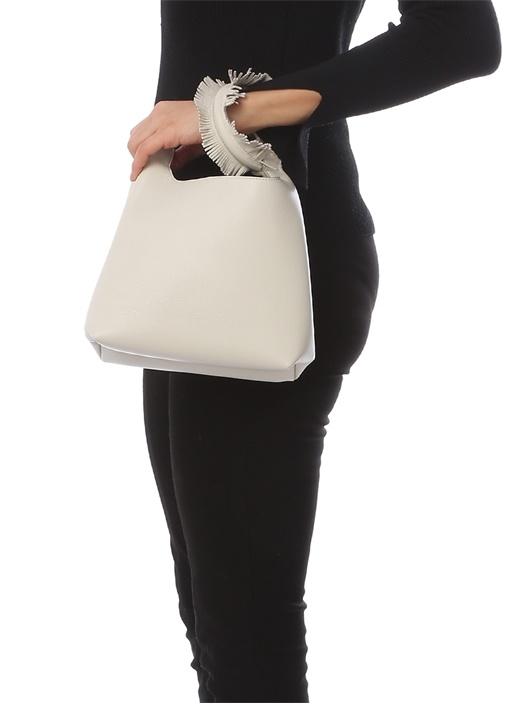 Vanity Beyaz Püskül Detaylı Kadın Deri Çanta