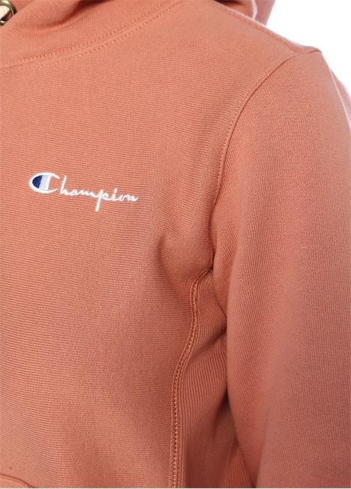 Somon Kapüşonlu Logo Nakışlı Sweatshirt